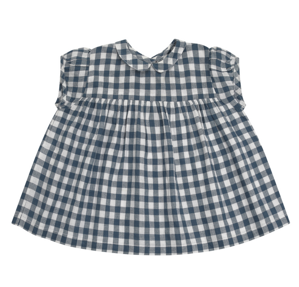 Little Cotton Clothes Juno Top in Blue Gingham
