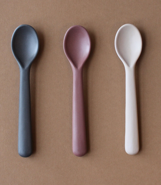 Cink Bamboo Toddler Spoon 3 Pack - Fog/Beet/Ocean