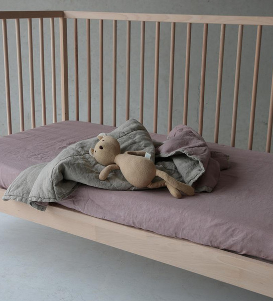 Summer & Storm Home Lilac Linen fitted Cot Sheet