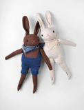 Polka Dot Club Medium Chocolate Rabbit in Blue Knit