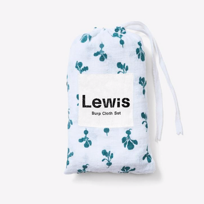 Lewis Swaddle Mini Radish Burp Cloth Set