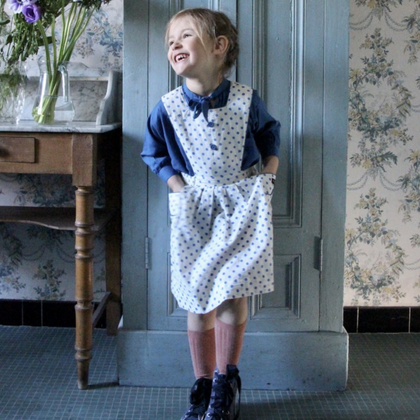 Bonjour Diary Apron Dress in Blue Dot