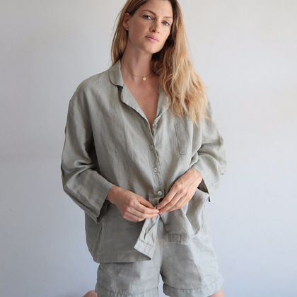 Summer & Storm Womens Linen Set - Stone