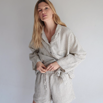 Summer & Storm Womens Linen Set - Stripe