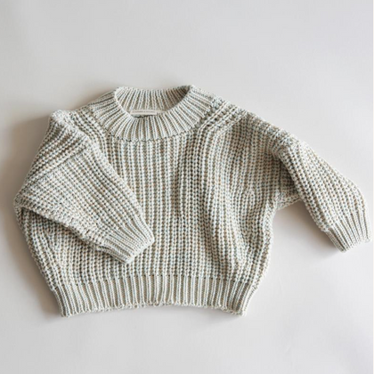 Summer & Storm Chunky Cotton Pullover  - Aqua & Beige