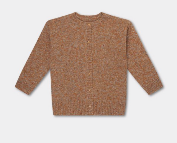 Repose AMS Knitted Rib Cardigan in Warm Wheat