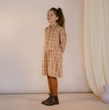Repose AMS Boxy Shirt Dress in Golden Check