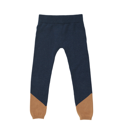 Bacabuche Pima Cotton Colorblock Legging - Navy + Camel