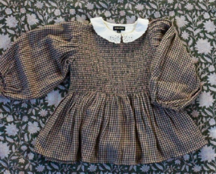 Bonjour Diary Smocked Balloon Blouse with Emb Collar