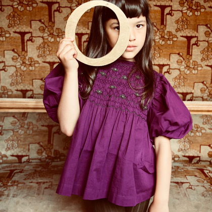 Bonjour Diary Balloon Hand Smocked Blouse in Purple