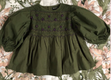 Bonjour Diary Balloon Hand Smocked Blouse in Green