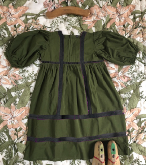 Bonjour Diary Memory Dress with Lace in Green