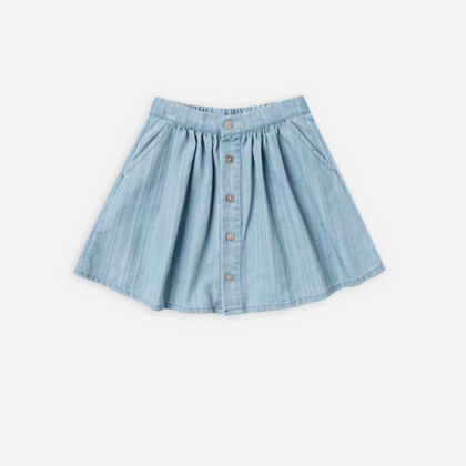 Rylee & Cru Button Front Mini Skirt, Washed Denim