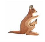 Ostheimer Wooden Kangaroo with Baby and Kid