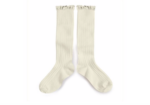 Collegien Lace Trim Knee Highs - Cream