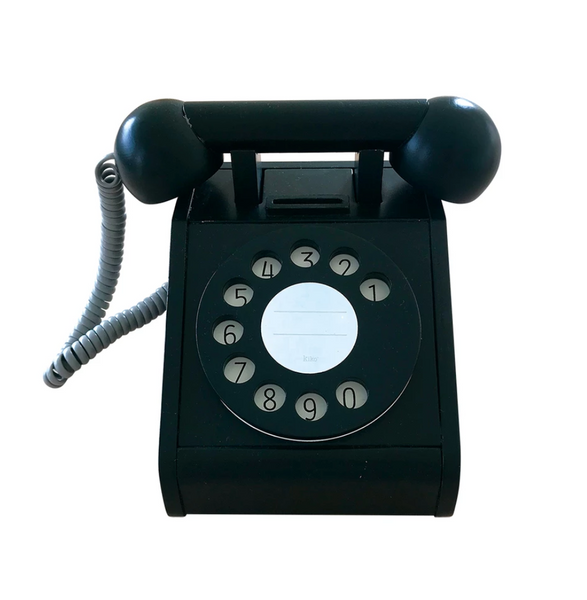 Kiko + gg Retro Wooden Telephone in Black