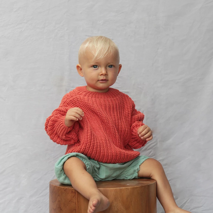 Summer & Storm Chunky Cotton Pullover  - Burnt Orange