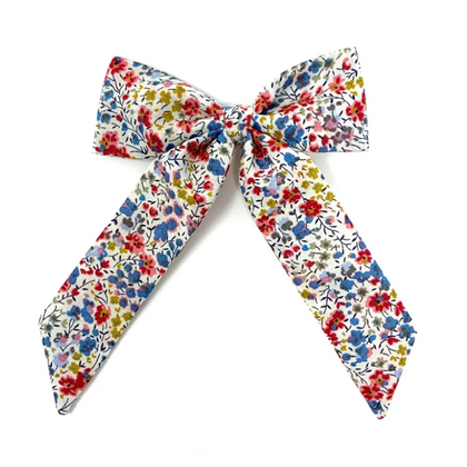 Lulu Loves Classic Hair Bow in Cream Liberty