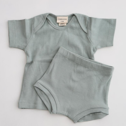 Summer & Storm Mini Ribbed Baby Set - Teal