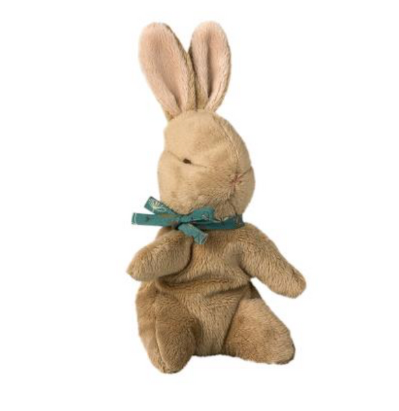 Maileg Brown Baby Bunny with Blue Ribbon