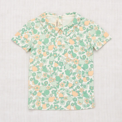 PREVIEW Collar Tee - Mint Orchard Print