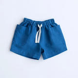 Lali Birch Shorts in Blue Linen