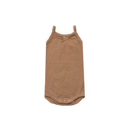 Quincy Mae Pointelle Tank Onesie in Copper