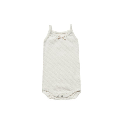 Quincy Mae Pointelle Tank Onesie in Pebble