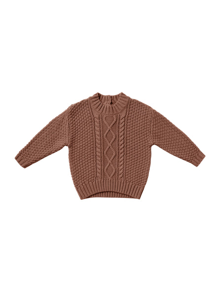 Quincy Mae Cable Knit Sweater in Clay