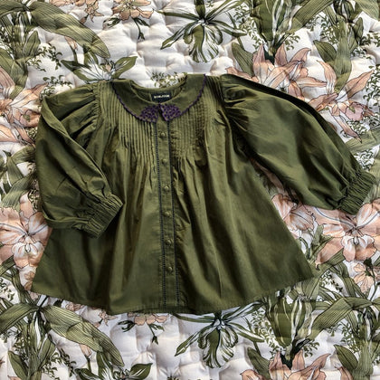 Bonjour Diary Madeleine Blouse with Emb in Green