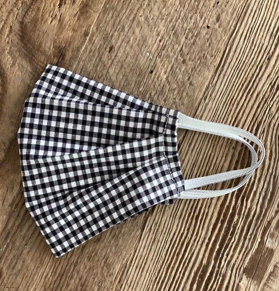 Black and White Gingham Face Mask Set of 2 - Adult & Kid