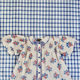 Bonjour Diary Madeleine Balloon Blouse with Red, Blue Floral