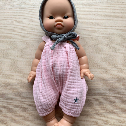 Minikane Asian Baby Girl Doll with Pink Overalls and Bonnet