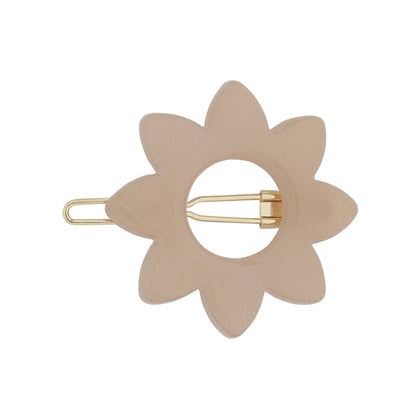 Anna Flower Barrette in Pale Mocha