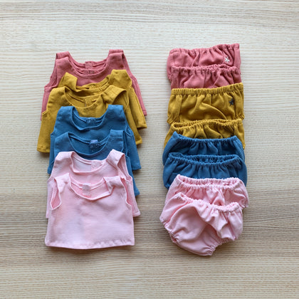Minikane Baby Cotton Top and Bloomer in Assorted Colors.