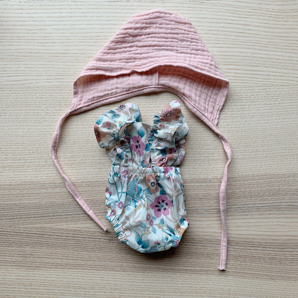 Minikane Baby Floral Romper and Pink Bonnet