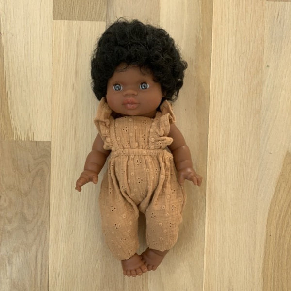 Minikane Imani Baby Girl Doll with Romper.