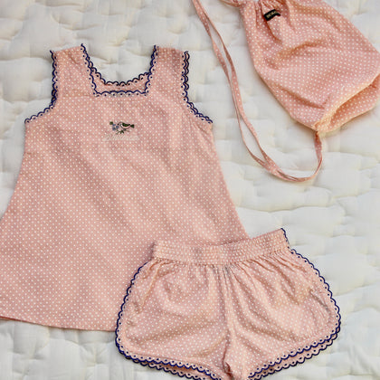 Bonjour Diary Top and Short Set in Pink Dot