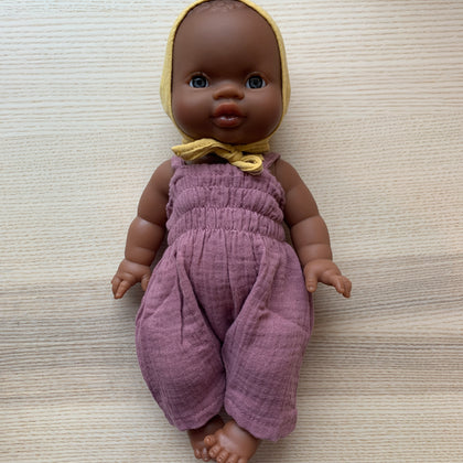 Minikane Black Baby Doll with Bonnet and Purple Romper
