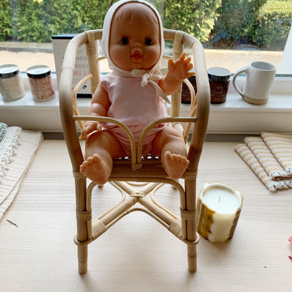 Minikane Baby Doll in Poppie High Chair with Pink Outfit