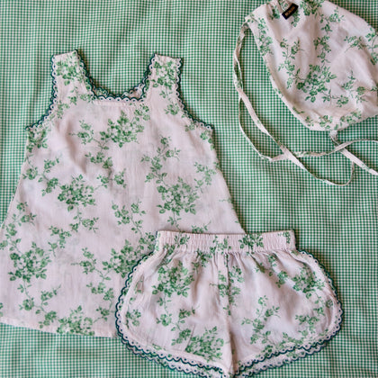 Bonjour Diary Top and Short Set in Green Floral
