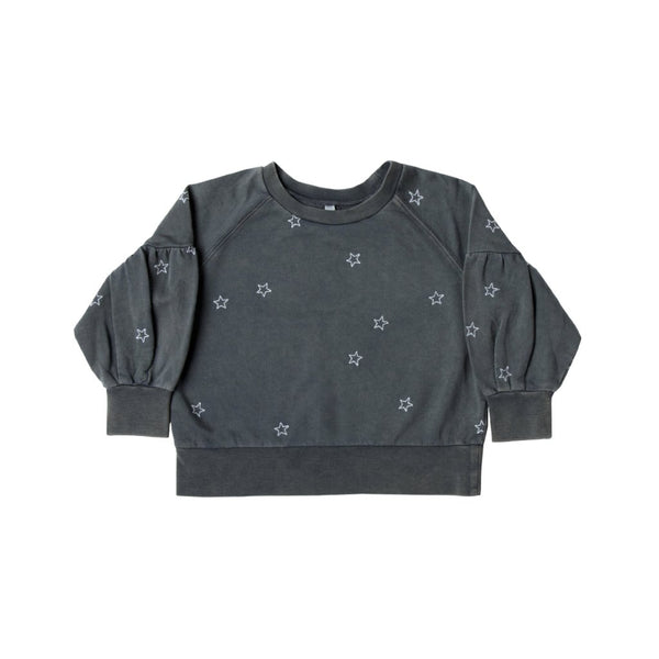 Rylee & Cru Star Embroidered Puff Slv Sweatshirt