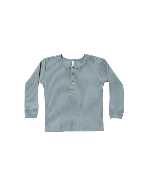 Rylee & Cru Ribbed Henley in Dusty Blue
