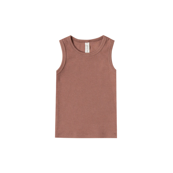 Quincy Mae Organic Ribbed Baby Tank in Clay