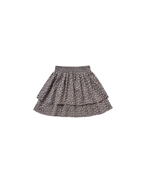 Rylee & Cru Ditsy Tiered Mini Skirt in Washed Indigo