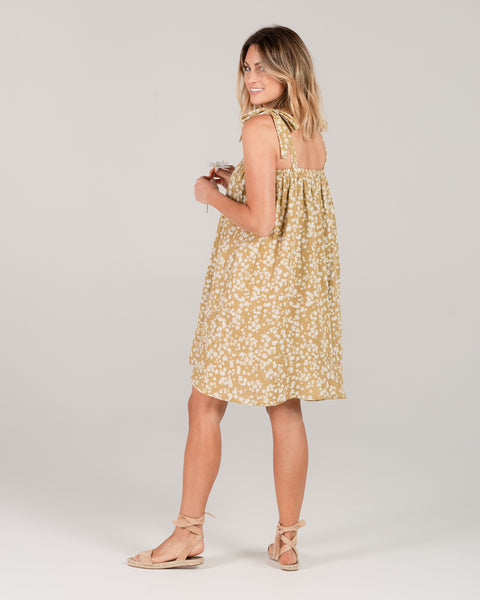 Rylee & Cru Scattered Daisy Shoulder Tie Dress