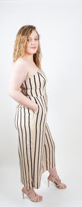 Plus Beige Black Stripes Jumpsuit