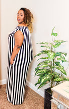 Load image into Gallery viewer, Plus Stripe Off Shoulder Jumpsuit