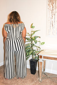 Plus Stripe Off Shoulder Jumpsuit
