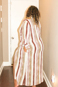 Plus Multi Stripe Long Sleeve Maxi Blouse
